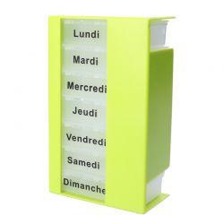 Pilulier hebdomadaire vert anis casiers transparents avec jours - avec personnalisation