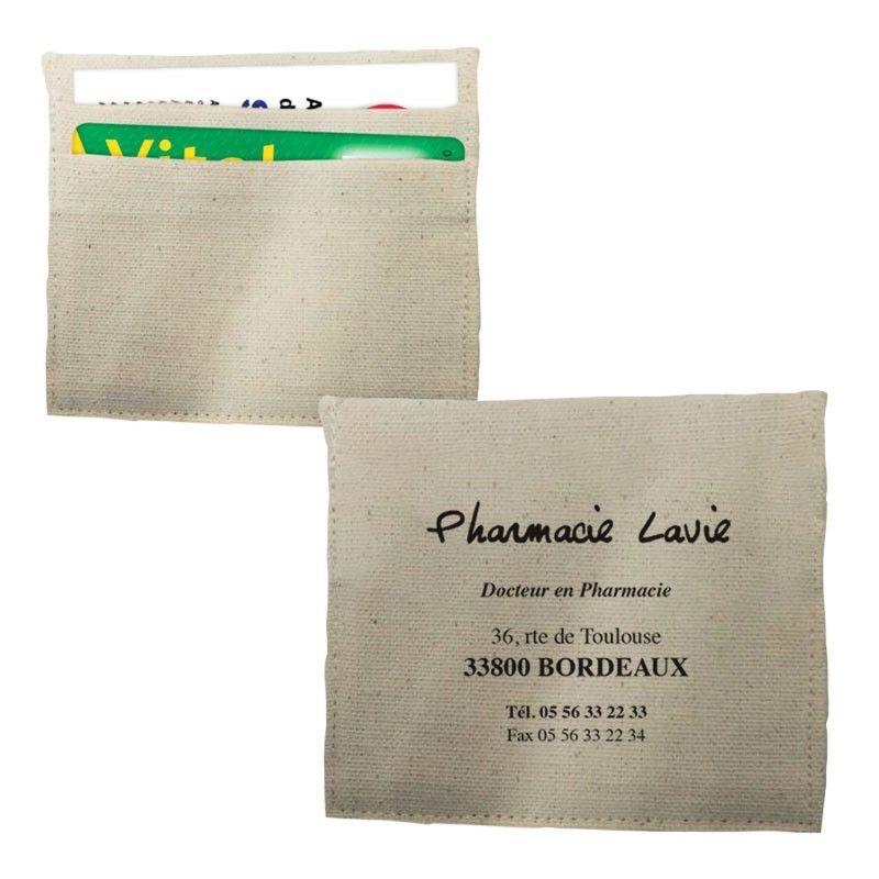 Porte carte coton naturel 90 x 105 mm