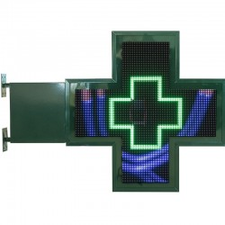 Croix lumineuse pharmacie animation 3D 88x88 cm