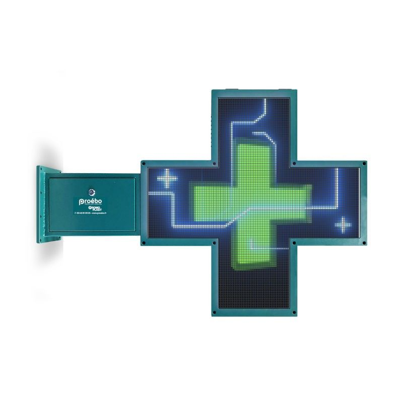 Croix lumineuse pharmacie HD 84x84 cm