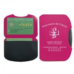 Porte carte vitale fushia 15,5x11 cm - pvc