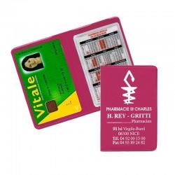 Porte carte vitale fushia 13,2x9,6 cm - pvc