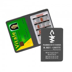 Porte carte vitale PVC gris anthracite - personnalisable - 13,2x9,6 cm