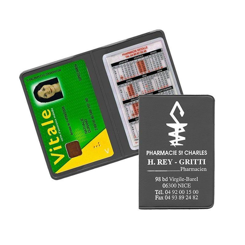 Porte carte vitale gris anthracite 13,2x9,6 cm - pvc