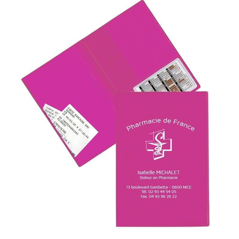 Garde ordonnance fushia  + 1 emp carte vitale 23,7x17 cm - pvc mat