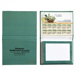 Bloc notes calendrier vert jade visuel huiles végétales