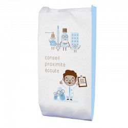 Sachet papier pharmacie kraft blanc - motif proximity - 18x12x29 cm