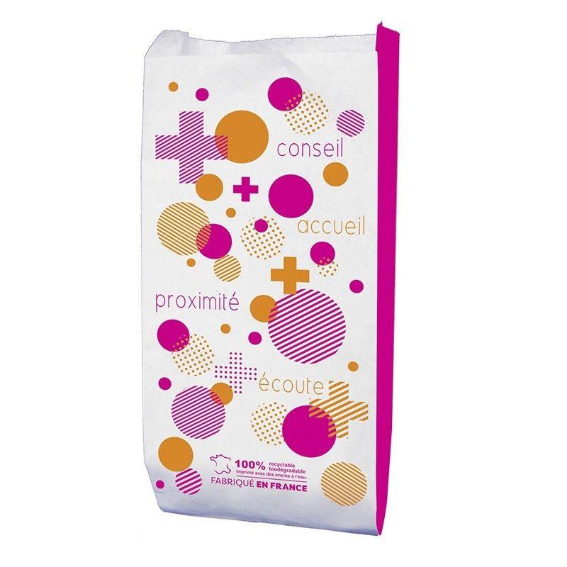 Sachet papier pharmacie - motif bulle - 12x6x26 cm