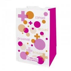 Sachet papier pharmacie kraft blanc - motif pharmabulle - 18x12x29 cm