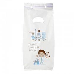 Sac plastique pharmacie liasse blanc - motif proximity - 18x10x32 cm