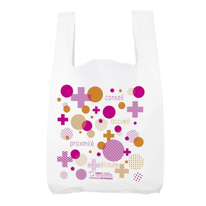 Sac plastique pharmacie bretelle blanc - motif pharmabulle- 26x12x45 cm