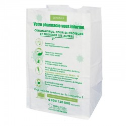 Sachet papier pharmacie kraft blanc - COVID 19 - 18x12x29 cm