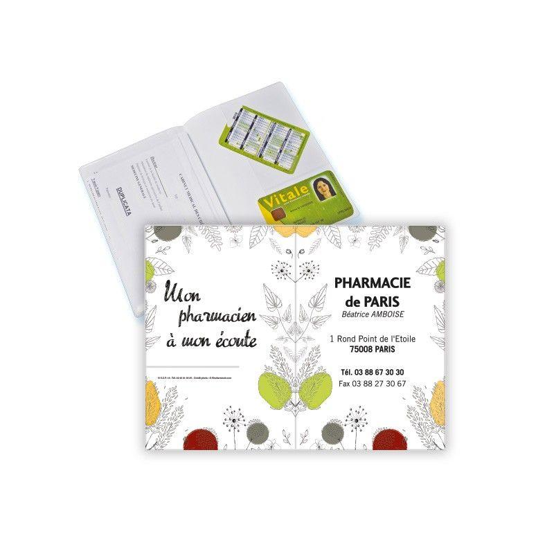Porte ordonnance et carte vitale PVC blanc apaisee - personnalisable - 23,7x17 cm