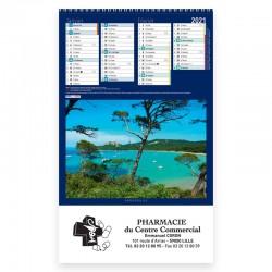Calendrier 6 feuillets spirales - Motif les îles françaises